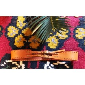 Anthropologie whiskey brown leather belt